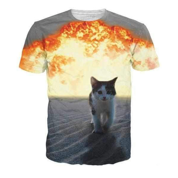Cat Explosion T-Shirt-T-Shirts-Wireless Jack