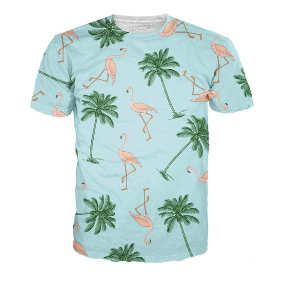 Flamingos and Palm Trees T-Shirt-T-Shirts-Wireless Jack