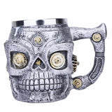 3D Skull Double Wall Stainless Steel Coffee Mug with Mechanical Gears