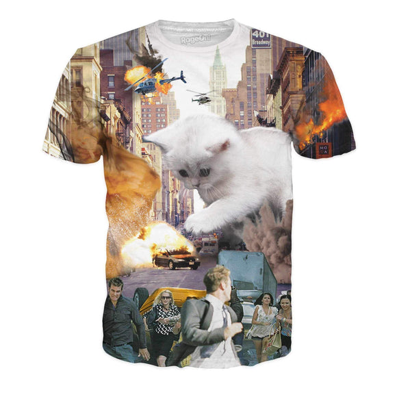 Rampage Cat T-Shirt-T-Shirts-Wireless Jack