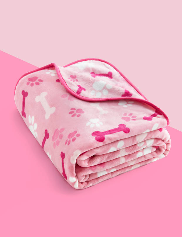 Adorable Sky Tone Flannel Dog Blanket, Baby Pink w/ Bone Paw Print