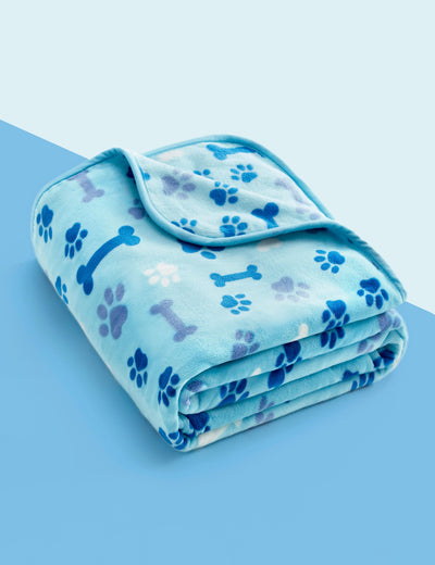 Adorable Sky Tone Flannel Dog Blanket, Baby Blue w/ Bone Paw Print