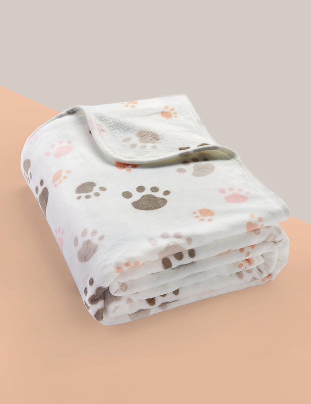 Classic Fluffy Flannel Dog & Cat Blanket, Ivory w/ Paw Print