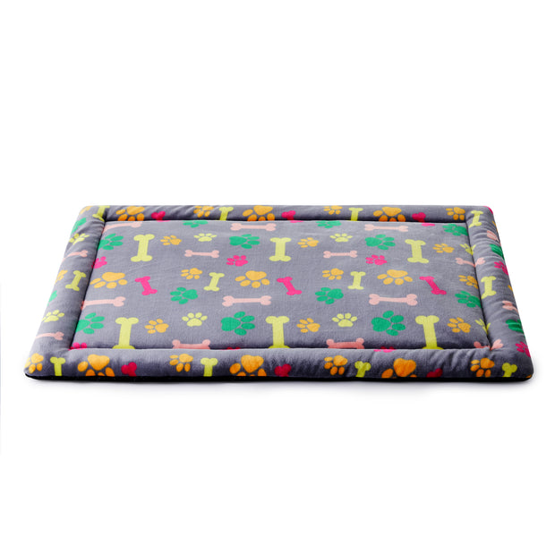 Super Soft Plush Dog & Cat Mat, Gray w/ Colorful Print