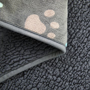 Premium Softness Reversible Waterproof Dog Blanket, Gray w/ Paw Print