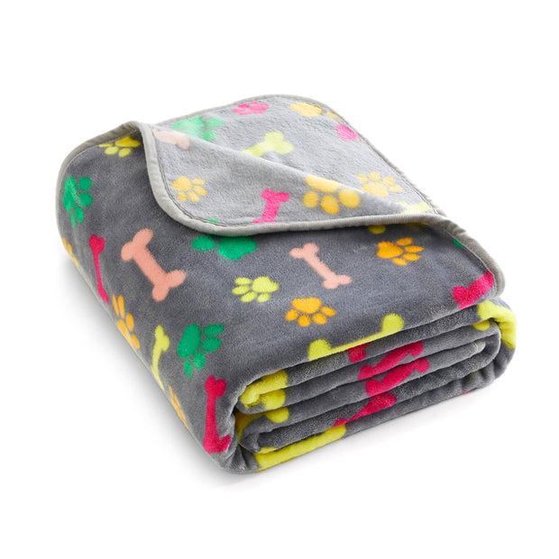 Delicate Flannel Dog Blanket, Gray w/ Colorful Print
