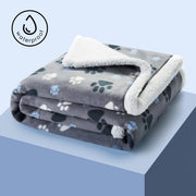 Luxurious Sherpa Durable Waterproof Dog Blanket, Gray with/ Paw Print
