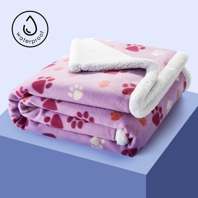 Luxurious Sherpa Durable Waterproof Dog Blanket, Purple with/ Paw Print