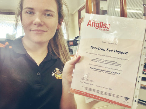 Tee-arna with her HACCP qualification