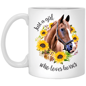 Girl Who Loves Horses 11 oz. White Mug