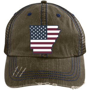 Arkansas US Flag Distressed Unstructured Trucker Cap