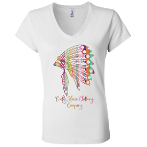 Colorful Headress Bella + Canvas Ladies' Jersey V-Neck T-Shirt