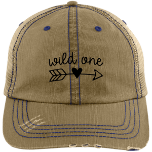 Wild One Distressed Unstructured Trucker Cap