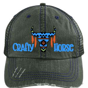 Crafty Skull Horse Distressed Unstructured Trucker Cap