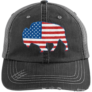 American Buffalo Distressed Unstructured Trucker Cap