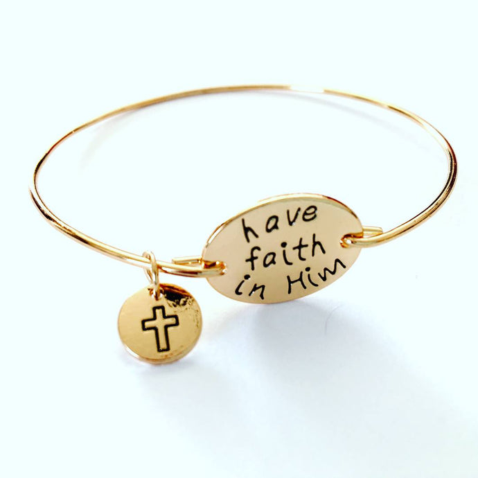 Have Faith in Him Bracelet, gold tone