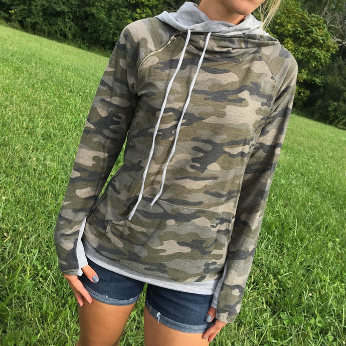 Camo double layered Hoodie with Front Pocket