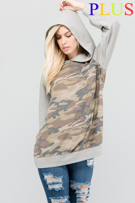 Curvy Sizes ~ Camo Hoodie with Pockets