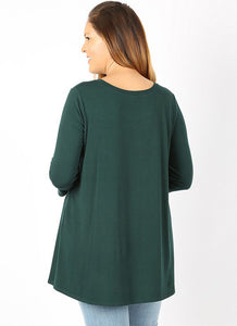 Curvy Sized Premium Top with 3/4 Sleeve and Button sides