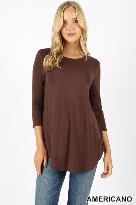 Relaxed Fit 3/4 Sleeve Round Neck and Round Hem Top