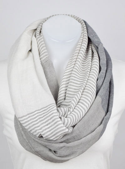 Alabaster and Charcoal Colorblock infinity scarf.
