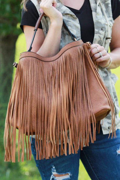 Stylish Brown 2 in 1 Fringe Bag