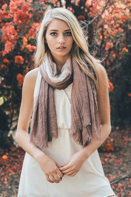 Lightweight Tan and Mocha Dip-Dyed Scarf