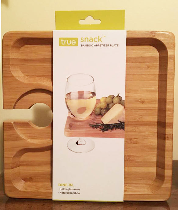 Bamboo Appetizer Plate with Wine Glass holder