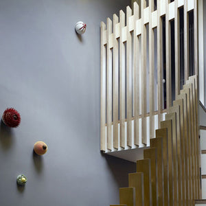 slatted plywood staircase