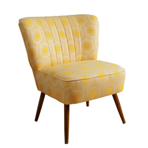 Vintage Cocktail Chair in Benedict Dawn Large Repeat woven wool fabric