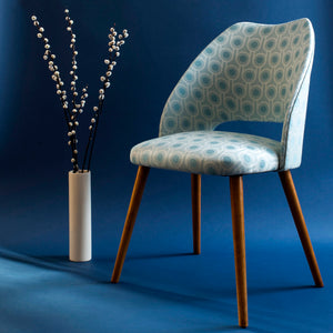 Vintage Cocktail Chair in Benedict Blue Small Repeat woven wool fabric