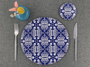 Melamine Round Placemat in Blue Jubilee Crown Orb Print