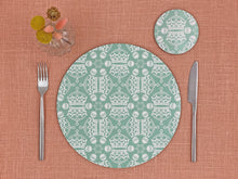 Melamine Round Placemat in Mint Green Jubilee Crown Orb Print