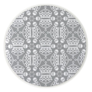 Melamine Round Placemat in Grey Jubilee Crown Orb Print