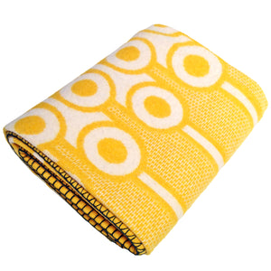 hokolo Lambswool Blanket in Yellow Eggs pattern