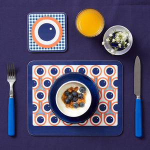 Melamine Placemat Coaster Set in Blueberries Print