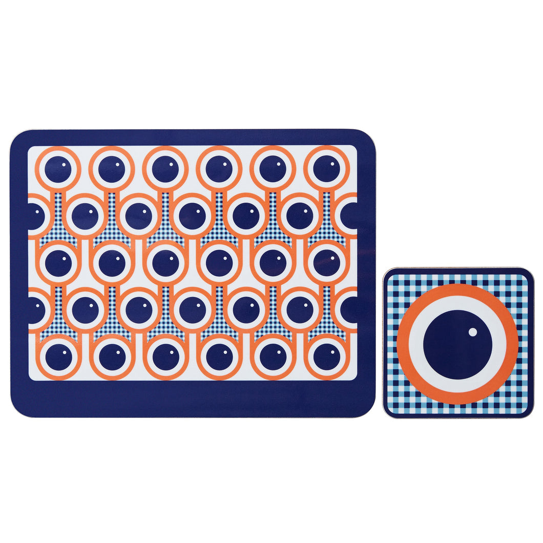 hokolo Melamine Placemat Coaster Set in Blueberries Print