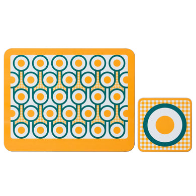 hokolo Melamine Placemat Coaster Set in Yellow Eggs Print