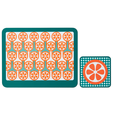 Melamine Placemat Coaster Set in Oranges Print