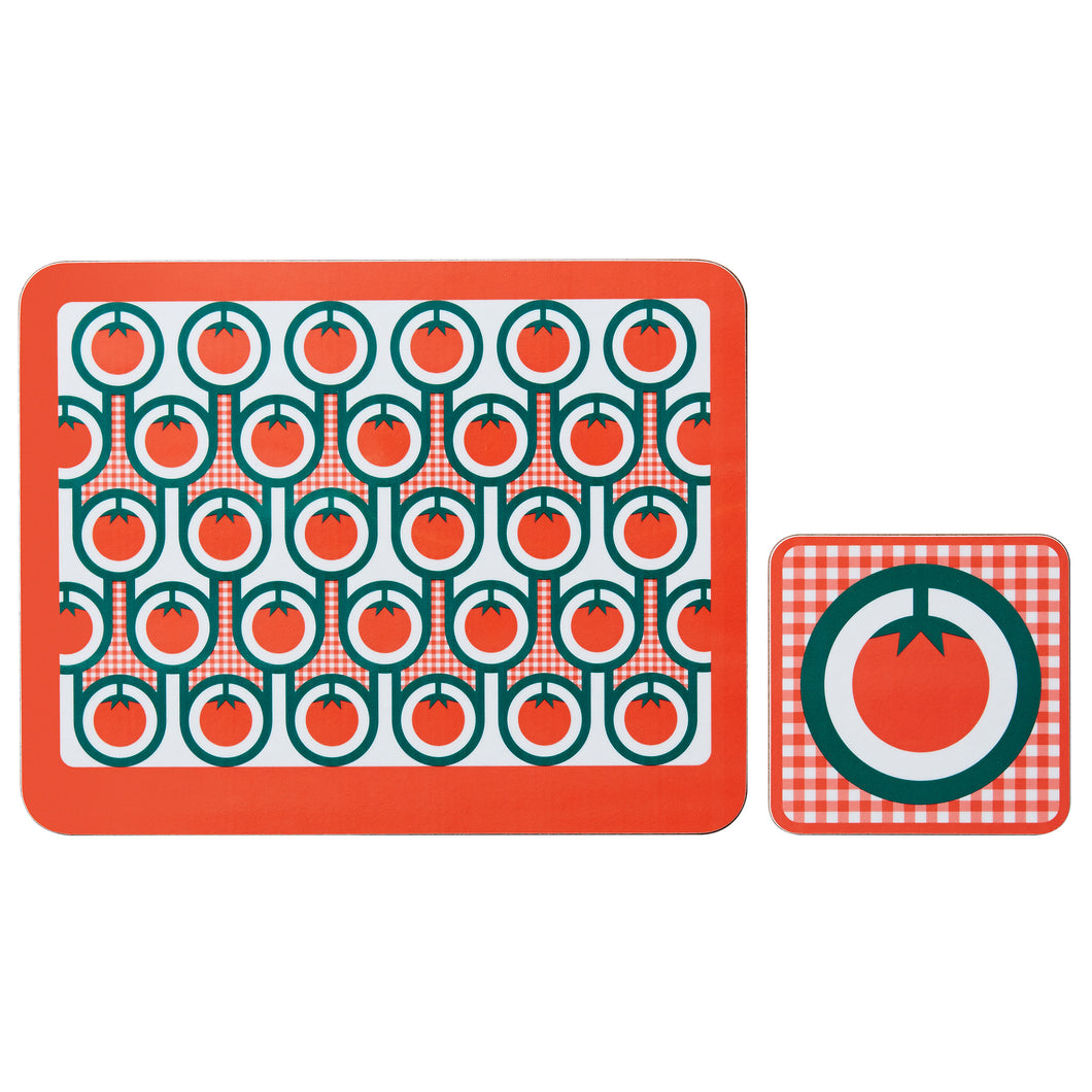hokolo Melamine Placemat Coaster Set in Red Tomatoes Print