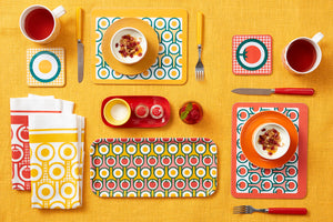 Melamine Placemat Coaster Set in Red Tomatoes Print