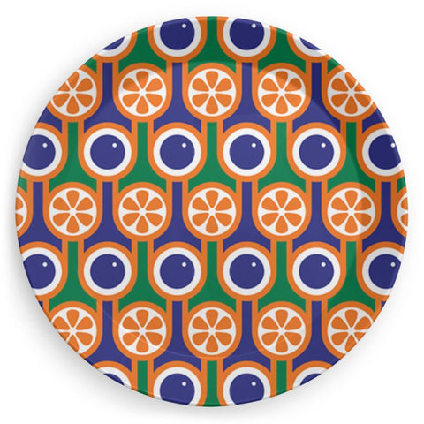 Plate in Blueberries Oranges Print