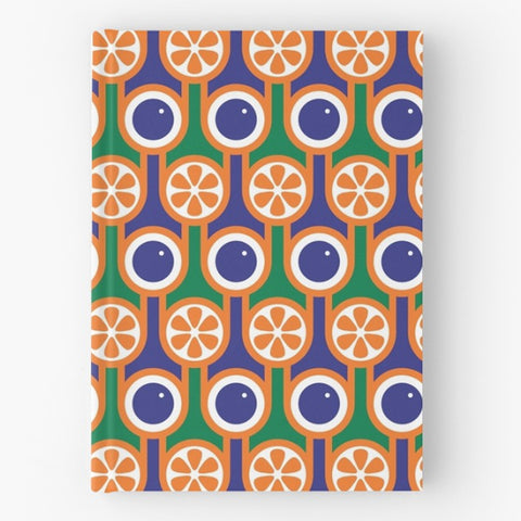 Hardback Notebook in Oranges Blueberries Print