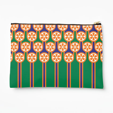 Zipper Pouch in Oranges Stripes Print