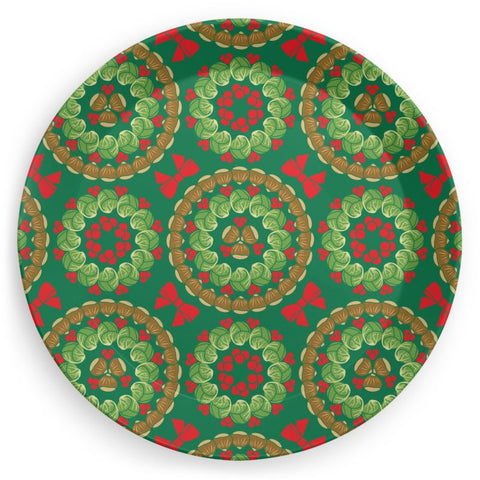 Plate in Christmas Brussels Sprouts Chestnuts Cranberries Print