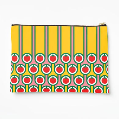 Zipper Pouch in Tomatoes Stripes Print
