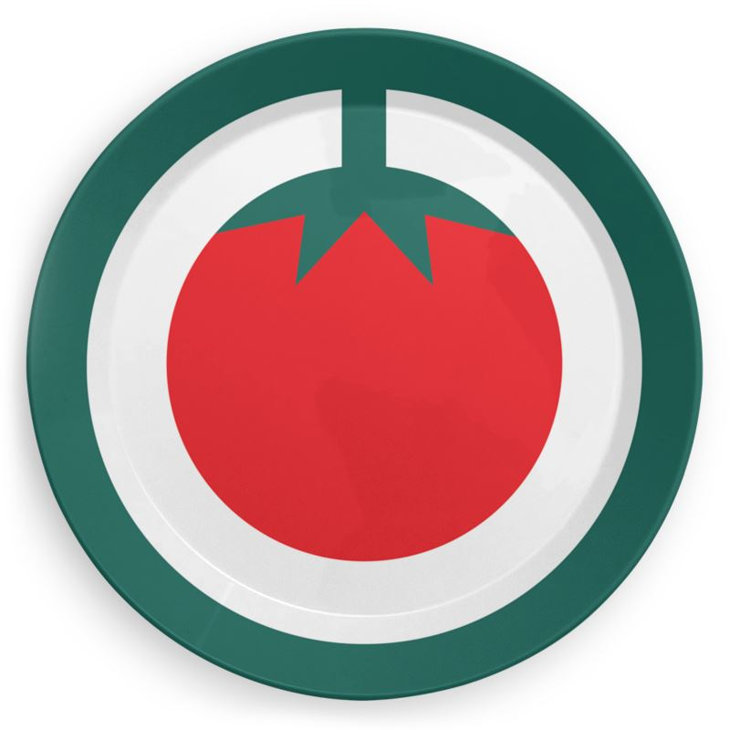Plate in Red Tomato Print