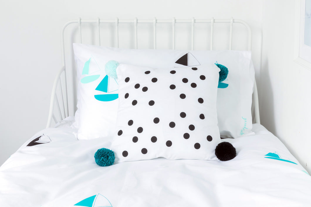 POMPOMS for PEACE | Spotty Cushion Cover with Pom Poms | Teal, Black & Aqua