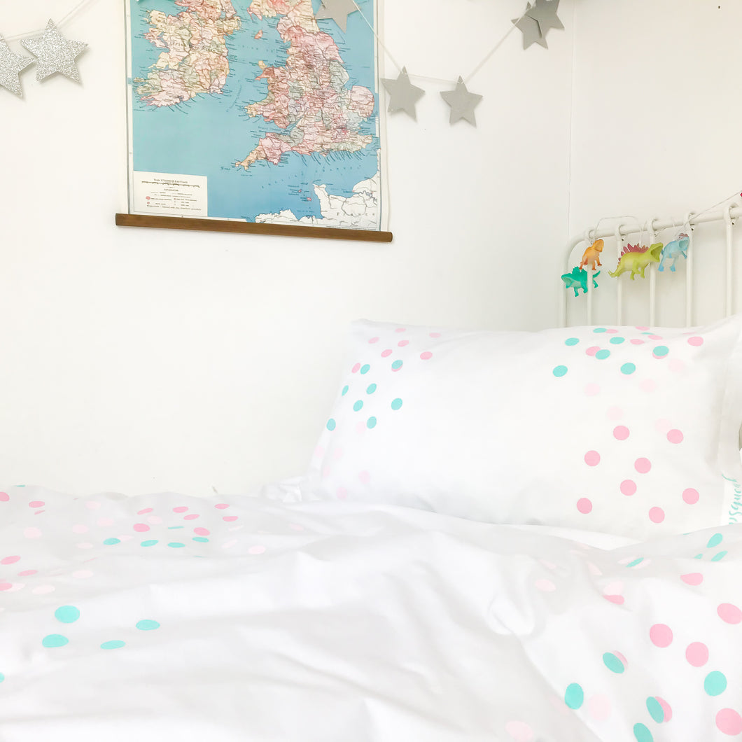 DOTTY ABOUT YOU Pink | Kids Spotty Design Duvet Set | Single Size
