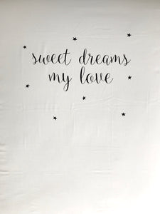 SWEET DREAMS MY LOVE (black) Cot Sheet